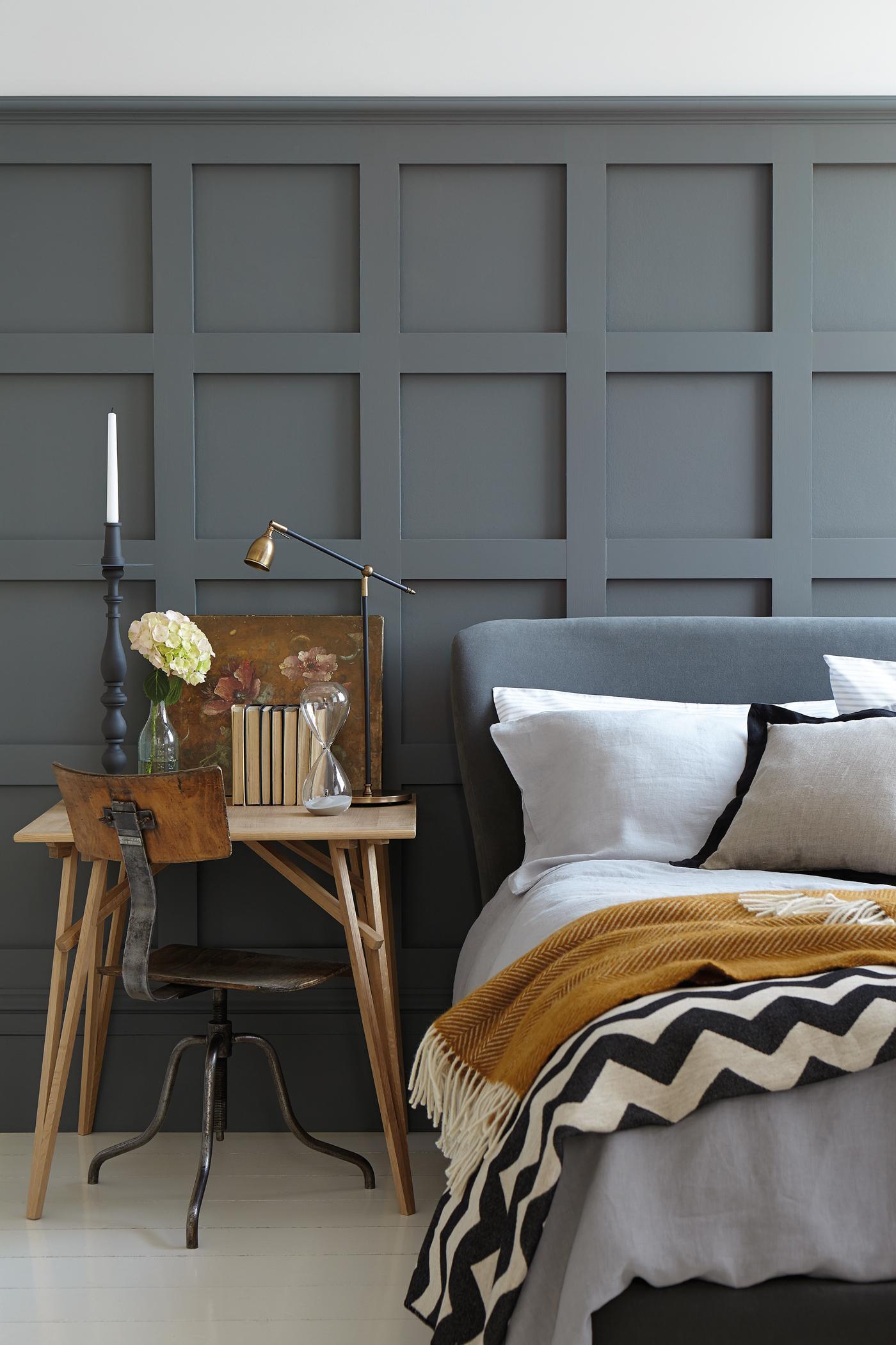 Kleine Arbeitsecke Am Bett Wandverkleidung Tagesde