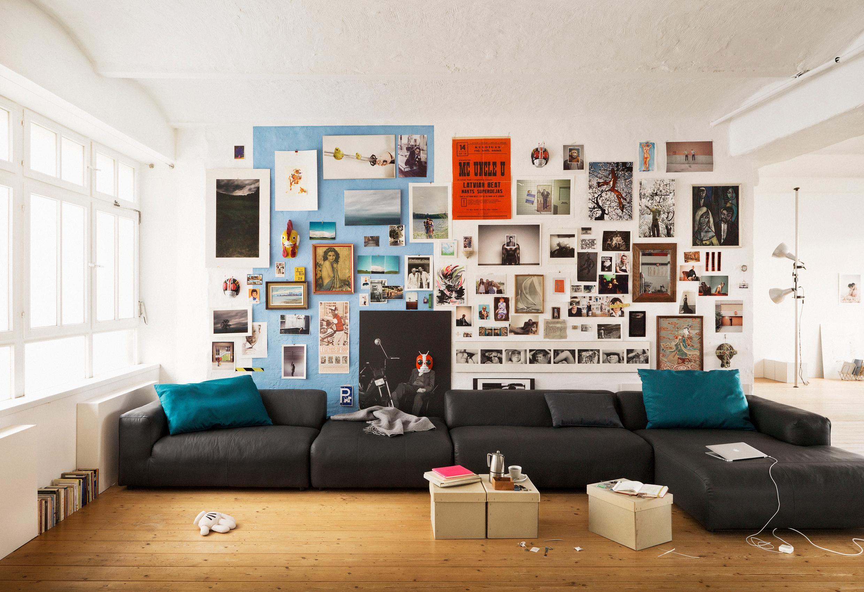 Kreatives Moodboard Als Wandgestaltung #couchtisch #sofa #wohnwand  #moodboard #zimmergestaltung ©Rolf