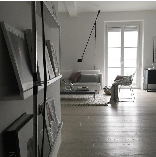 living room situation #myhome #livingroom #bookwall #flos #whiteinterior #altbau #interior #monochrome