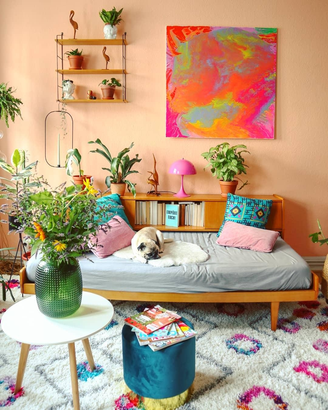 #Livingroom #colorfulhome #Bohemian #boho #daybed #plant