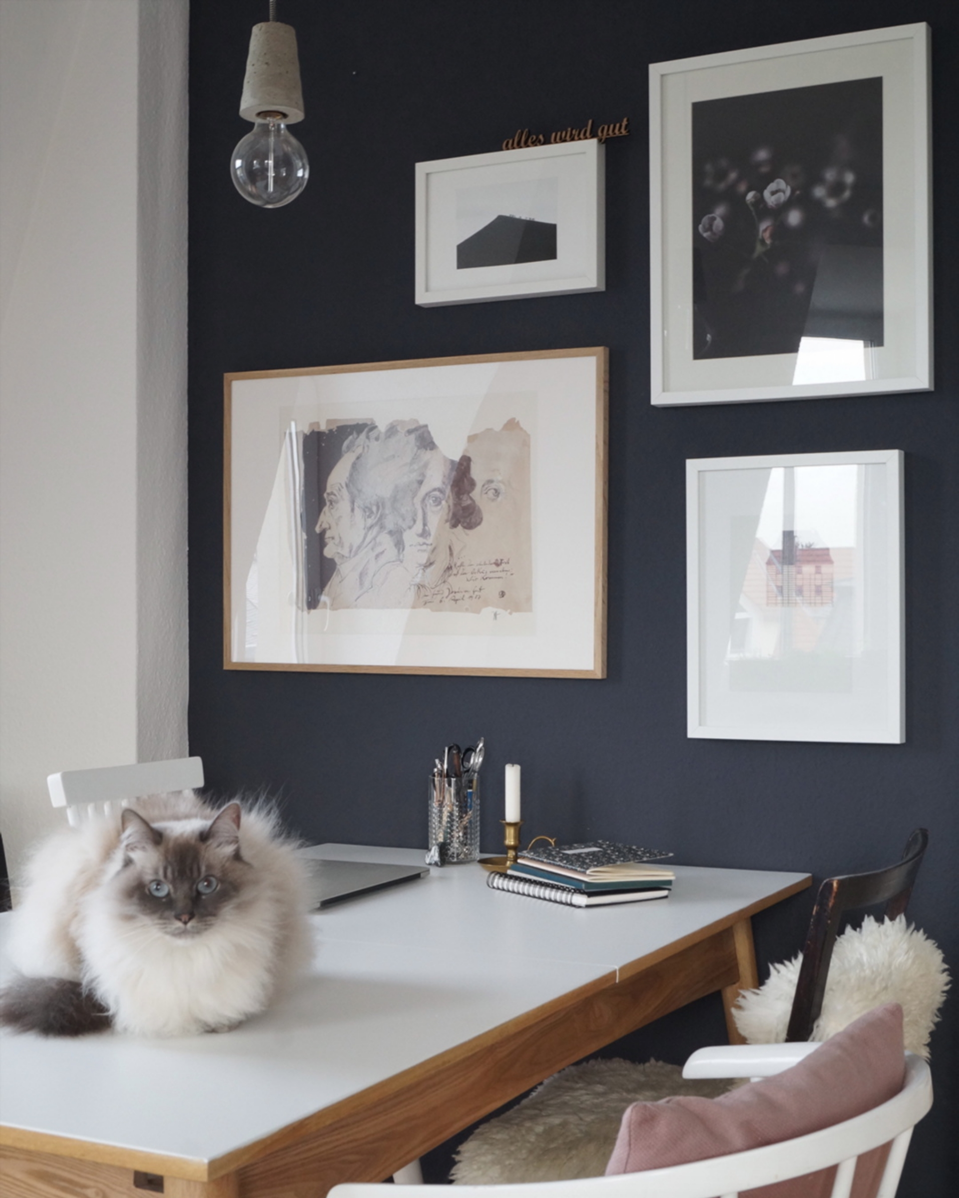 #livingroom #diningarea #workingspace #cat #artwall #darkwall