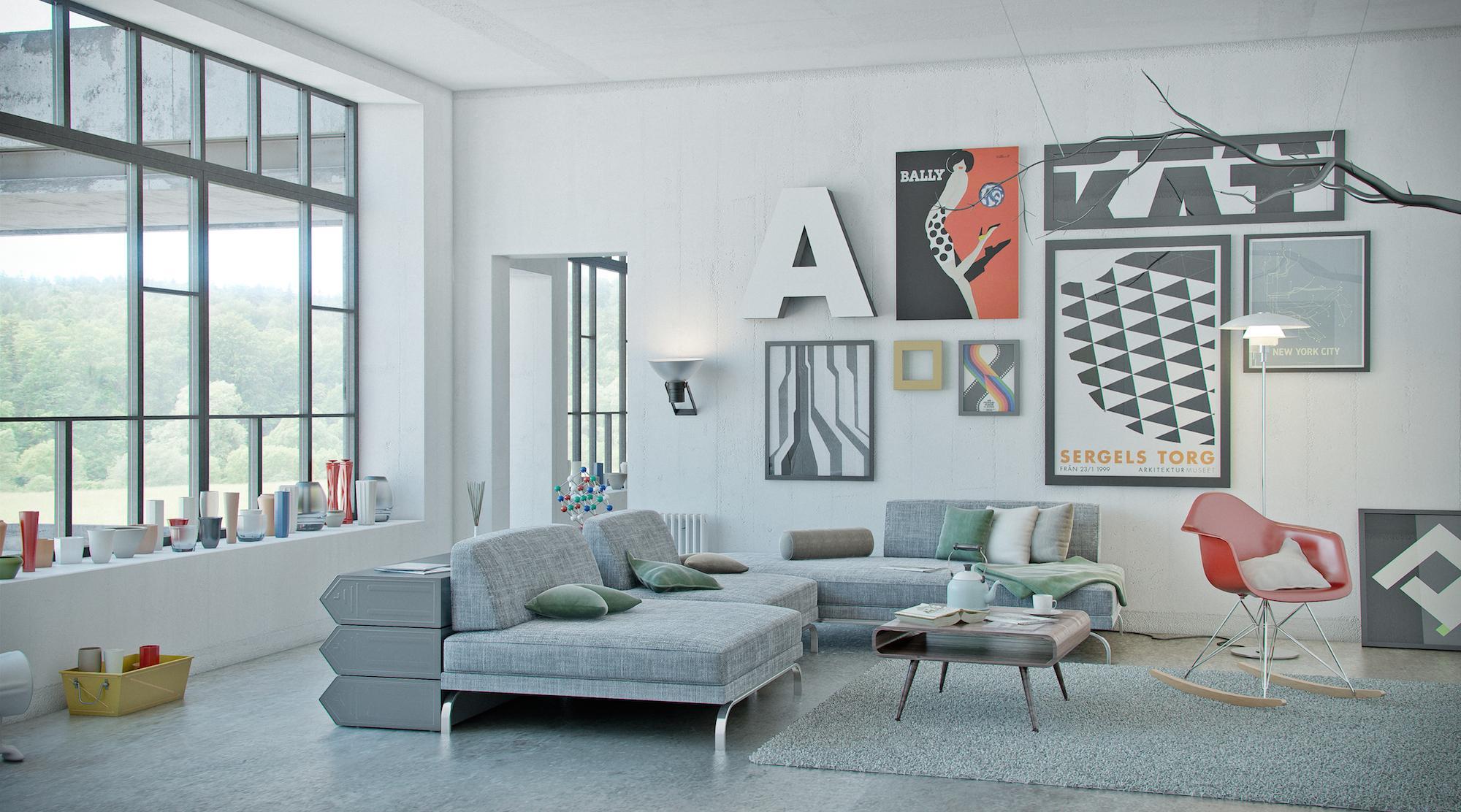 Loftstyle #couchtisch #wohnzimmer #loft #schaukelstuhl #wandbild  #wohnlandschaft ©www.