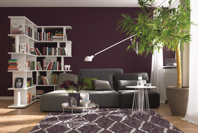 Lounge, SCHÖNER WOHNEN Trendfarbe #beistelltisch #wandfarbe #bücherregal  #teppich #wandgestaltung