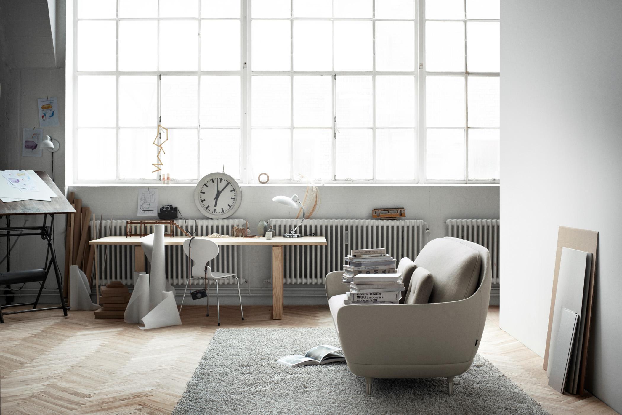 Minimalistisch Einrichten Teppich Sofa Wanduhr F
