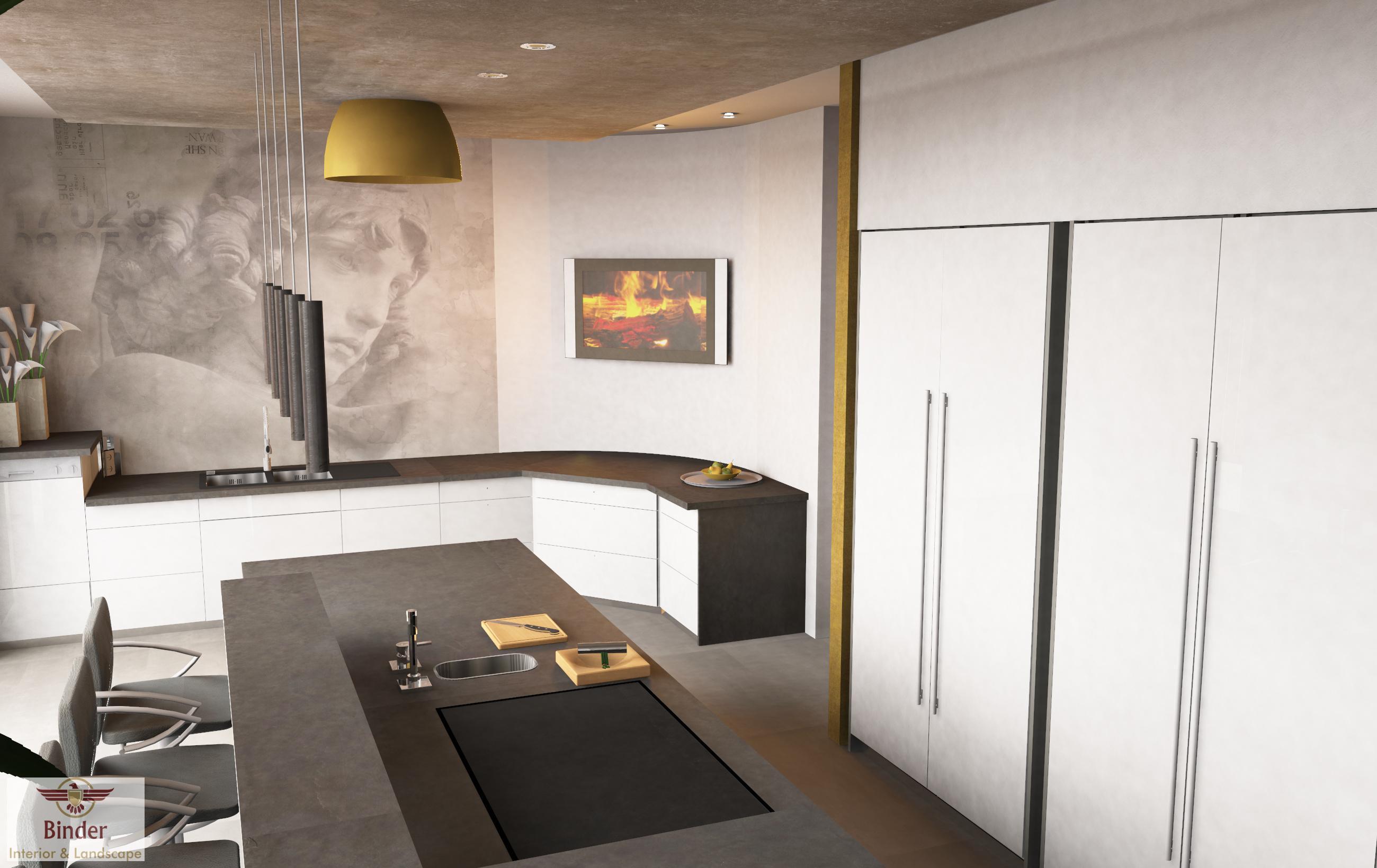 Moderne Küche Mit Kochinsel In Anthrazit #küche #theke #beleuchtung  #kücheninsel #raumausstattung
