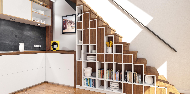 moderne treppe bucherregal, moderne variante mehr stauraum zu schaffen #küche #r, Design ideen