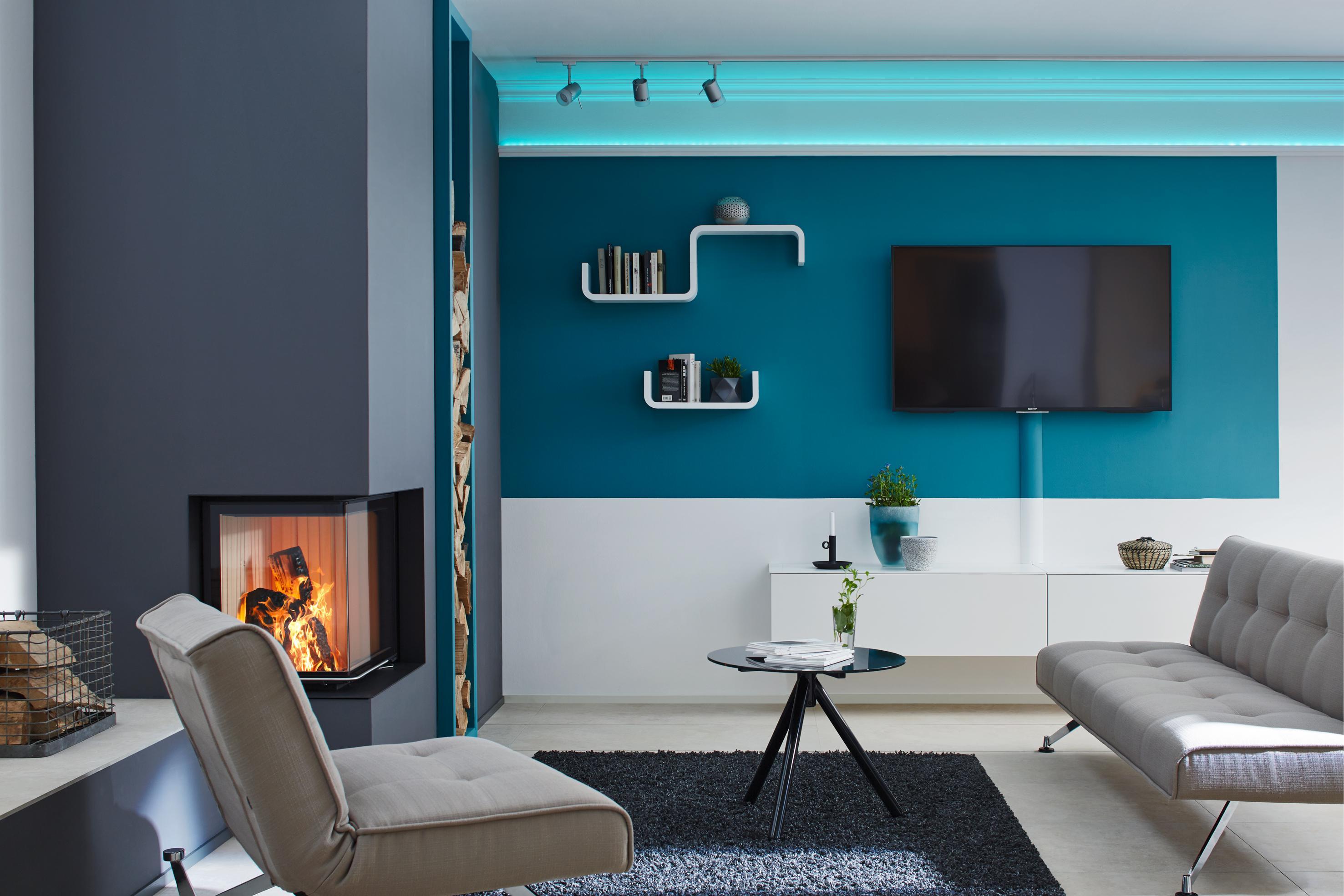 Moderne Wohnzimmerwand #wohnzimmer ©Saarpor • COUCH