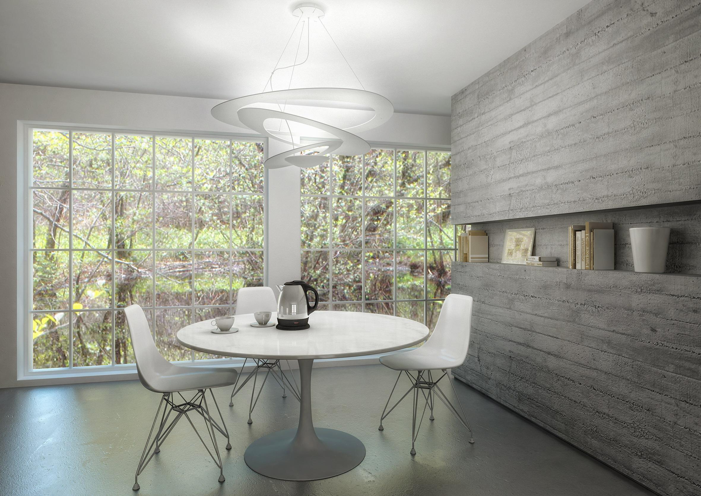 Modernes Esszimmer #wandleuchte #weißerstuhl ©Artemide