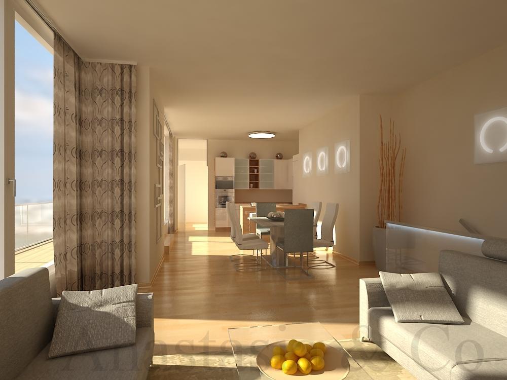 Modernes Wohnzimmer Mit Offener Küche #wohnzimmer ©Anastasia Reicher  (Anastasia U0026amp; ...
