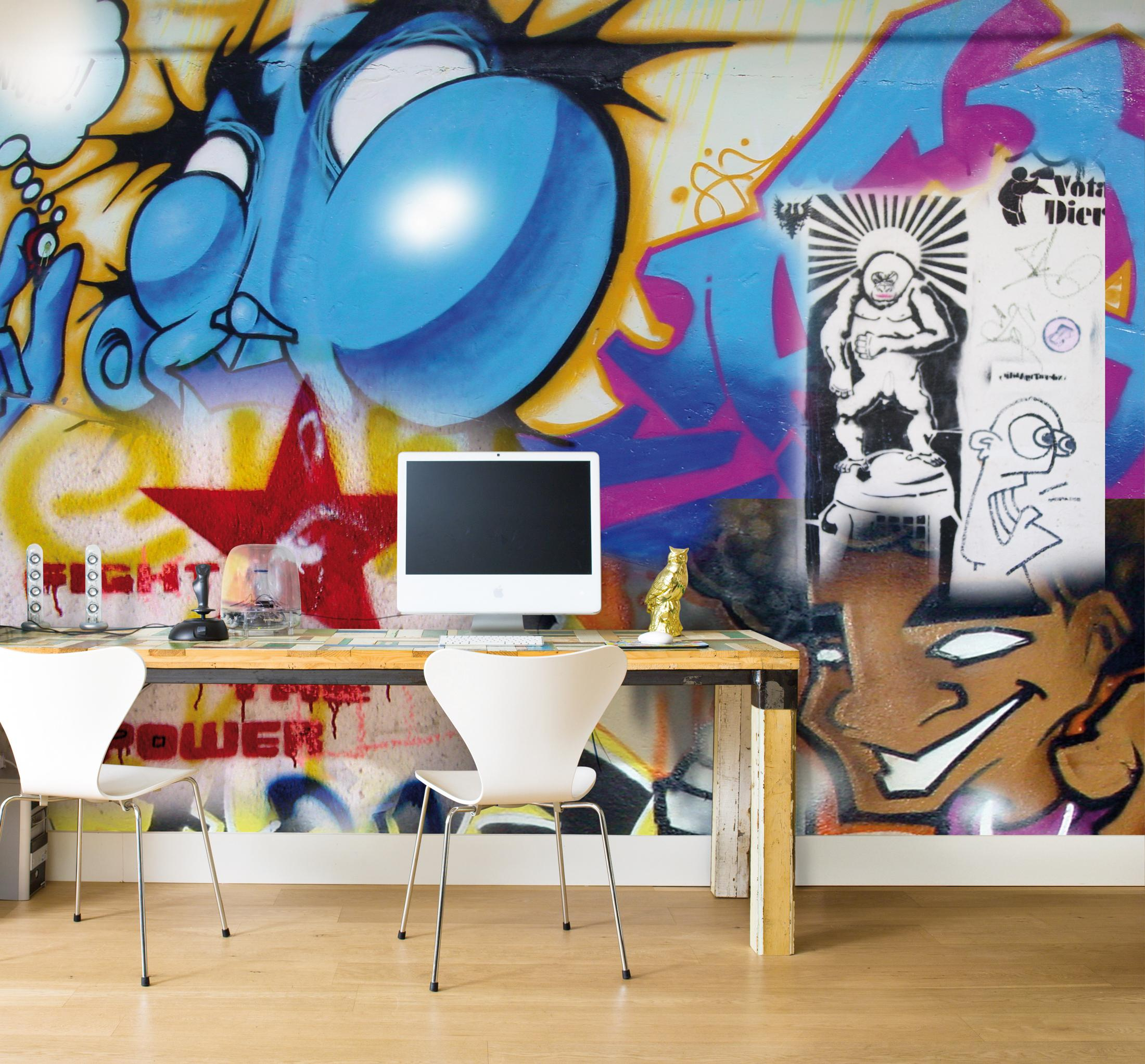Mustertapete im Graffiti-Look #mustertapete ©BN Wallcoverings