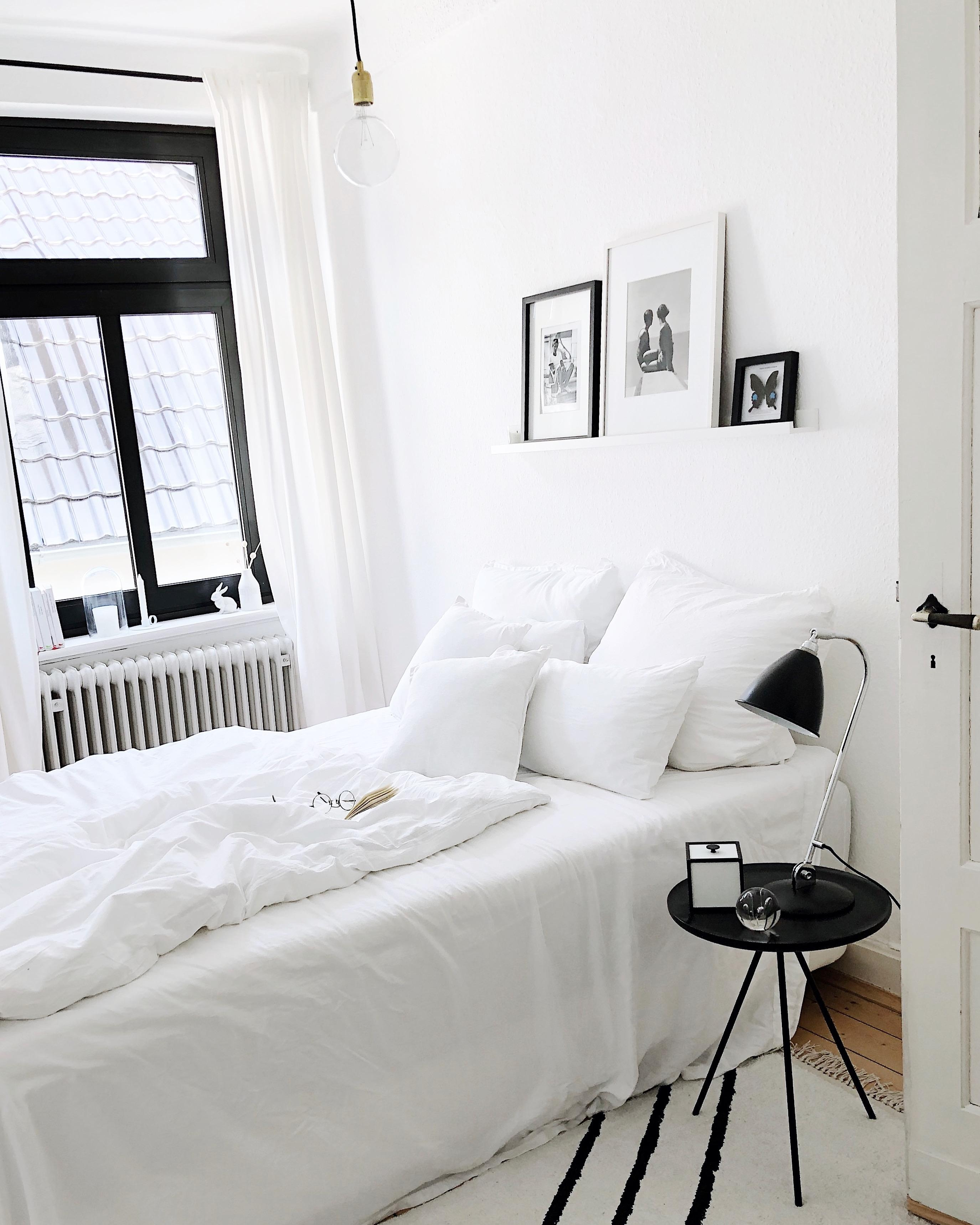My happy place #bedroom #allwhite #blackandwhite
