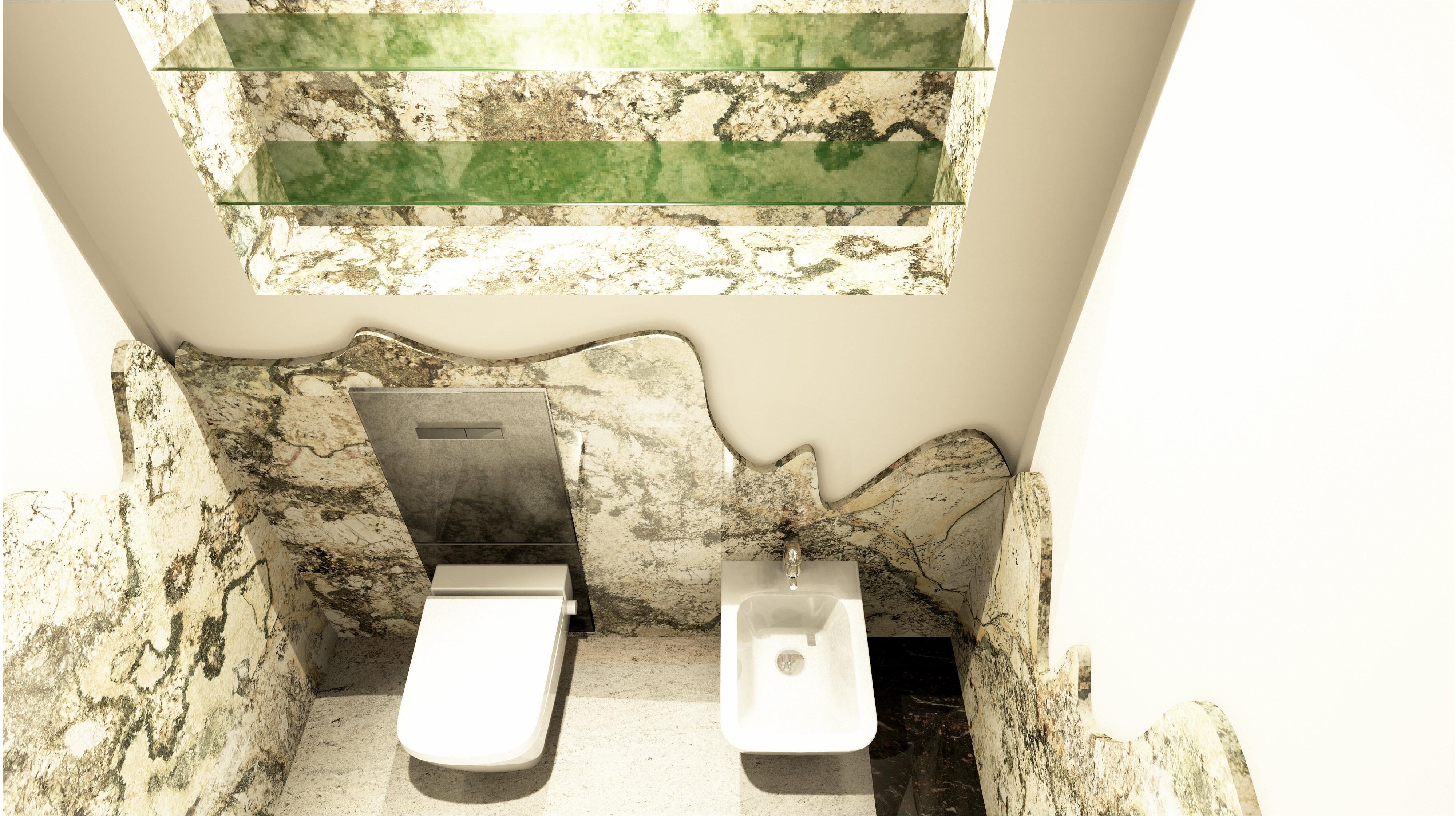 Naturstein WC Bidet Bereich Mit Lichteffekte #natursteinbad ©3D Riedus  Visuality GbR