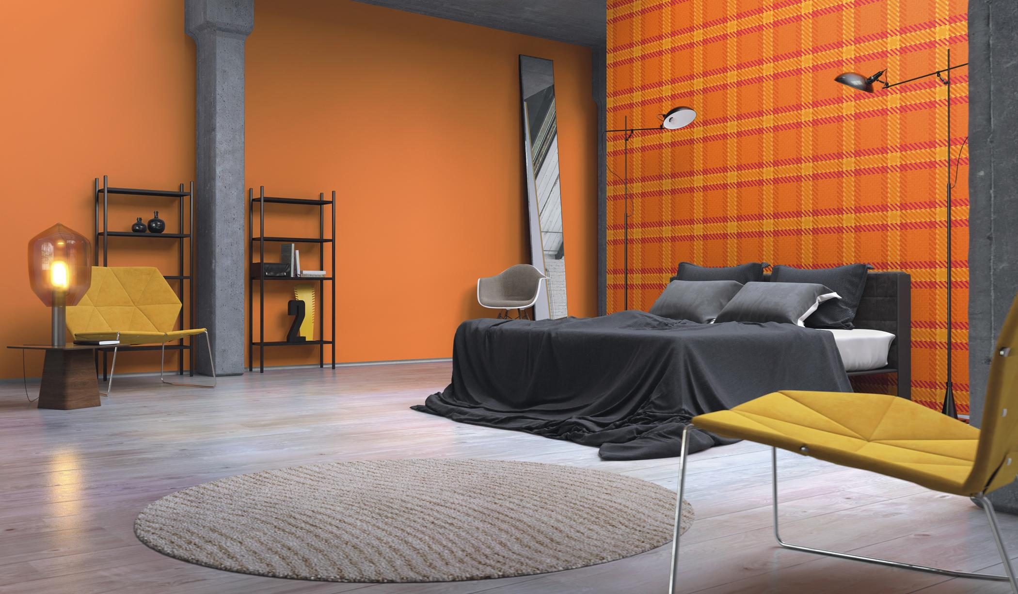 orangefarbene tapete mit karomuster wandgestaltung. Black Bedroom Furniture Sets. Home Design Ideas