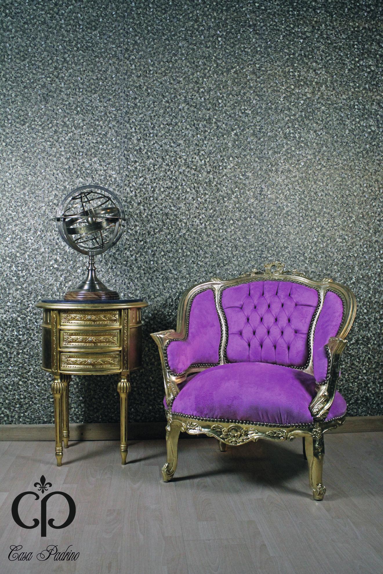 Prunkvoller Barock Sessel In Rosa / Gold Mit Elegantem Beistelltisch Aus  Dem Hause Casa Padrino #