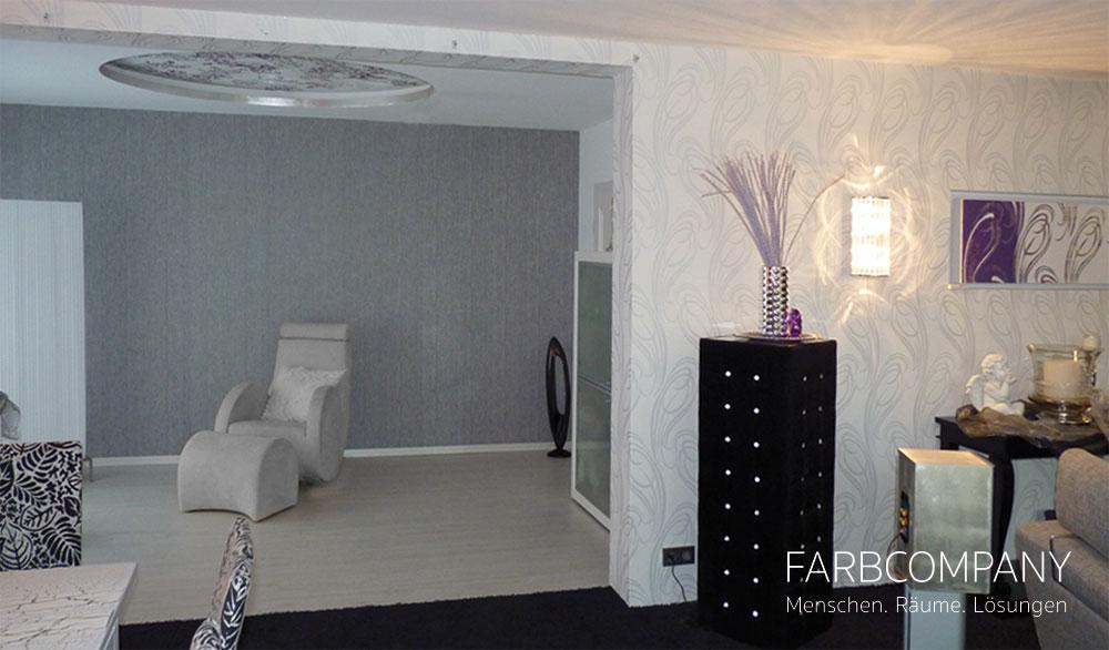 Raumgestaltung Eines Exklusiven Wohnzimmers #wandgestaltung #wandtattoo  ©Farbcompany / Mike Schleupner