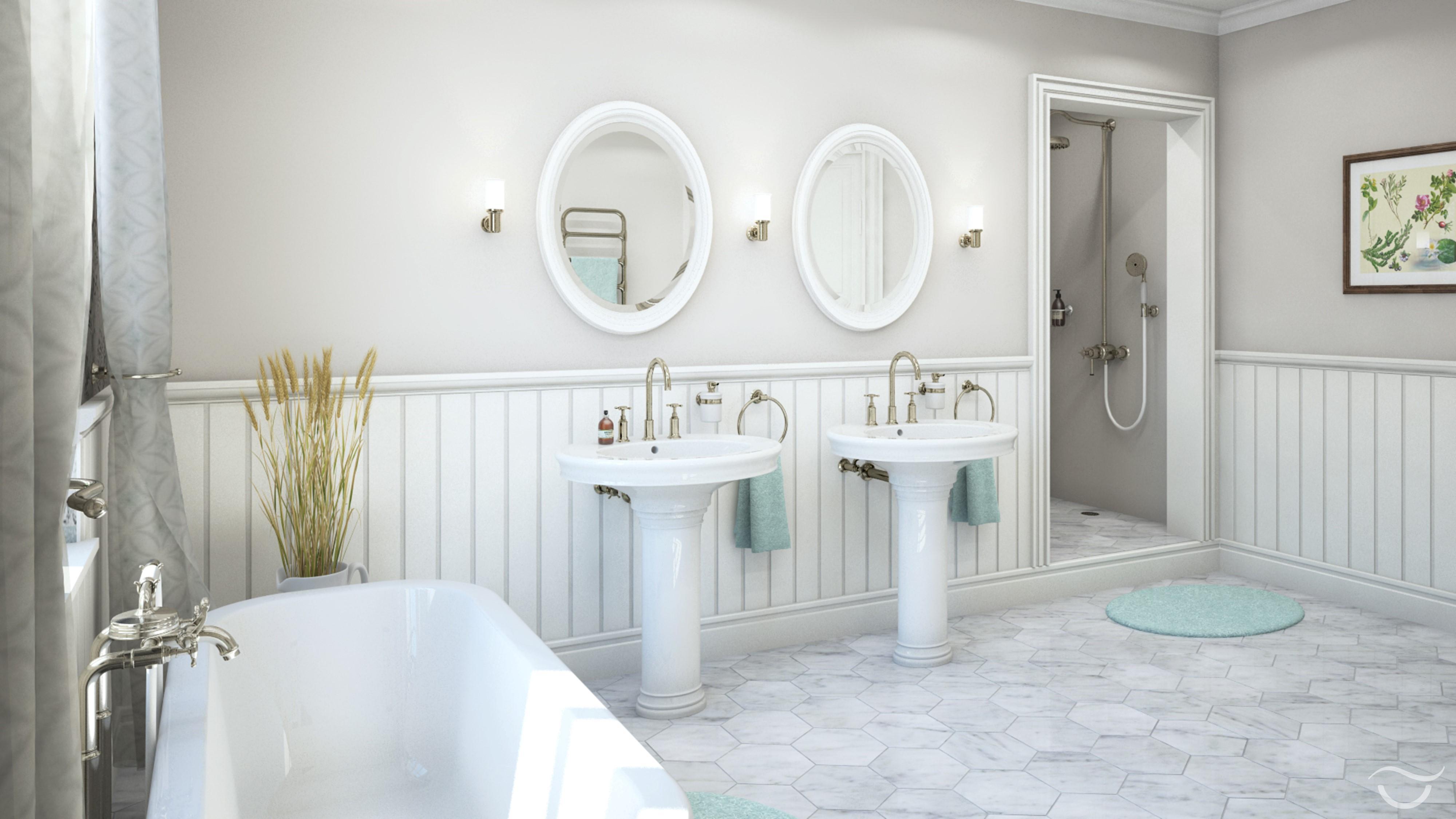 Romantische Waschbecken Beim Cottage Style #retro #freistehendebadewanne  #ferienhaus #retrotapete #englischerstil #