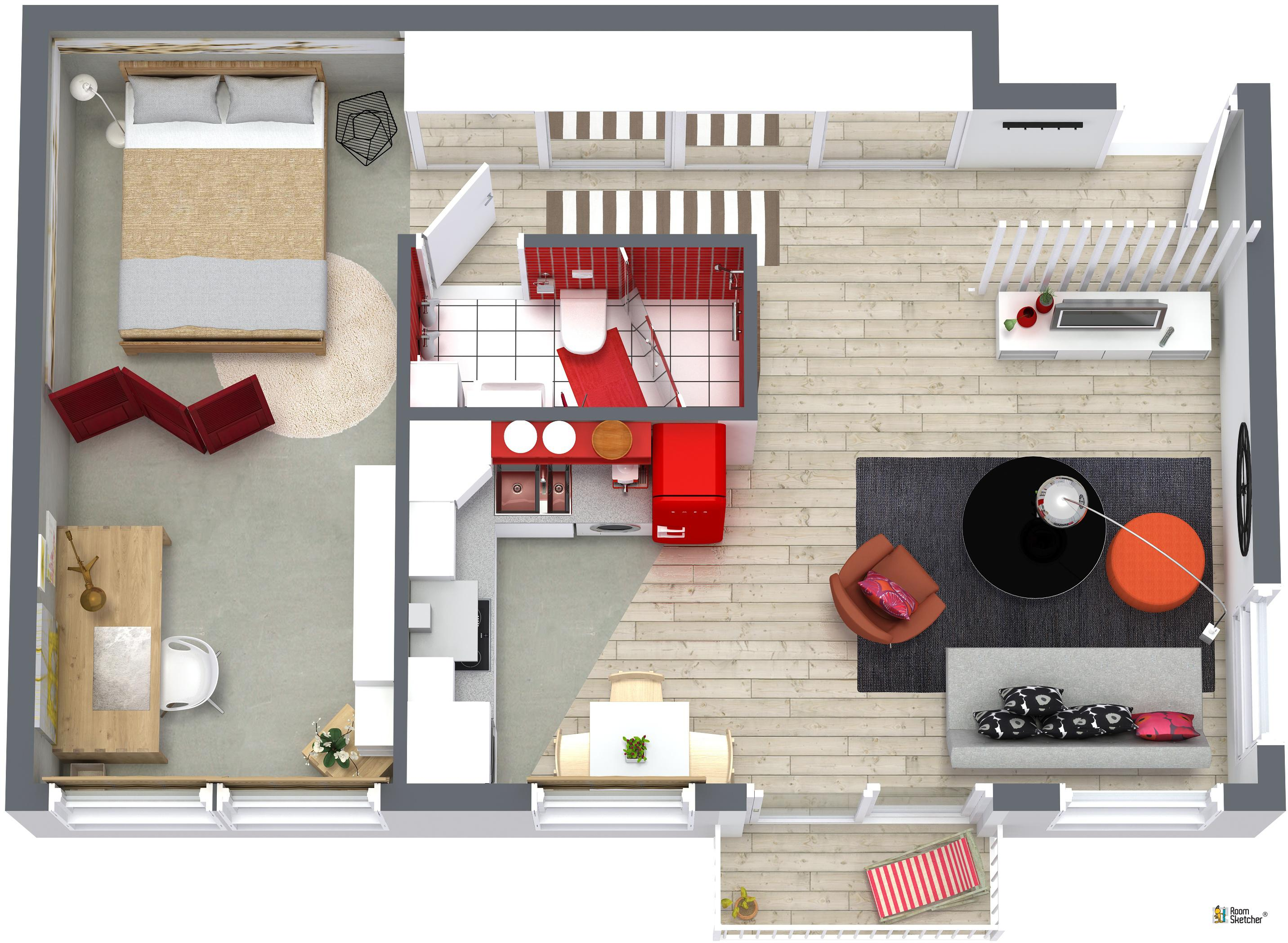 RoomSketcher Wohnidee: Kleine Wohnung Einrichten   3D Grundriss #grundriss  #kleinerraum #kleinewohnungeinrichten ©
