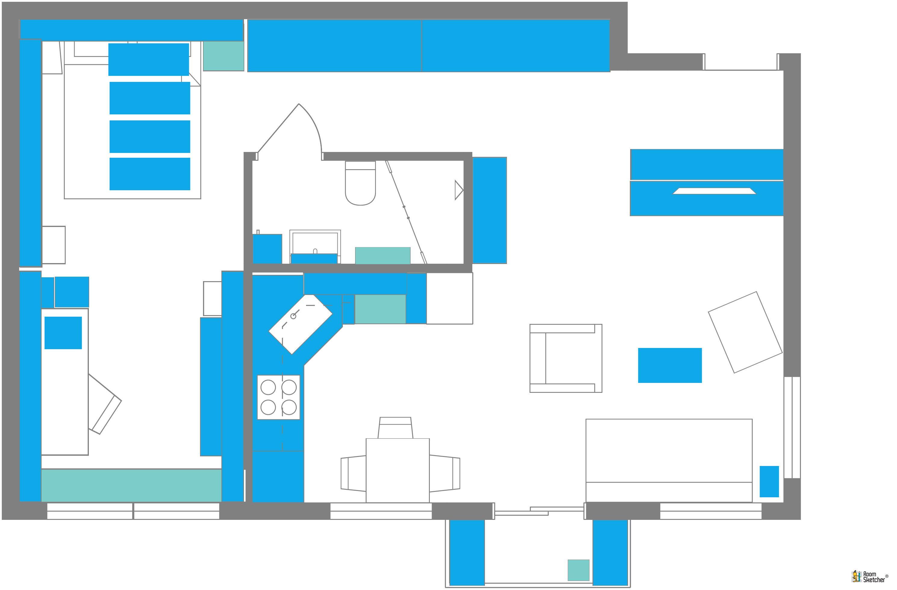 RoomSketcher Wohnidee Kleine Wohnung Mit Stauraum Einrichten 2D Grundriss Erluterung