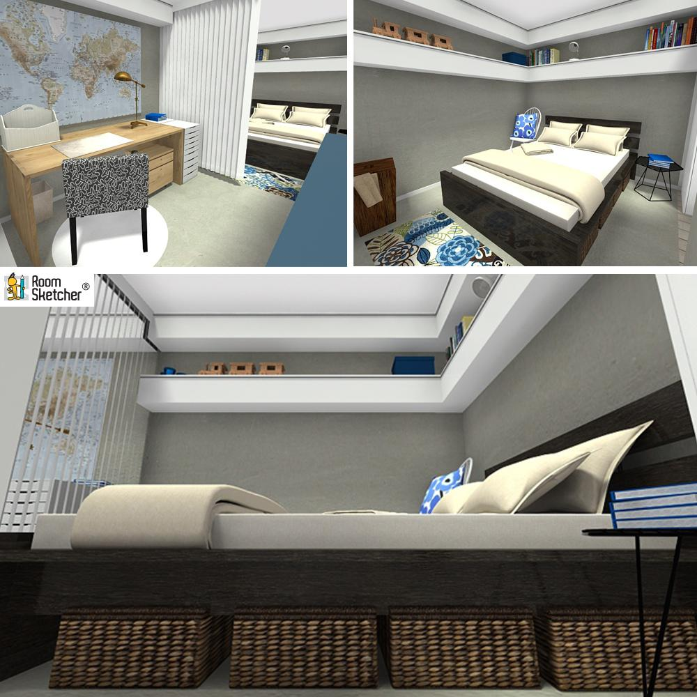 RoomSketcher Wohnidee: Kleine Wohnung Mit Stauraum Einrichten:  Schlafbereich #stauraum #kleinewohnungeinrichten ©RoomSketcher