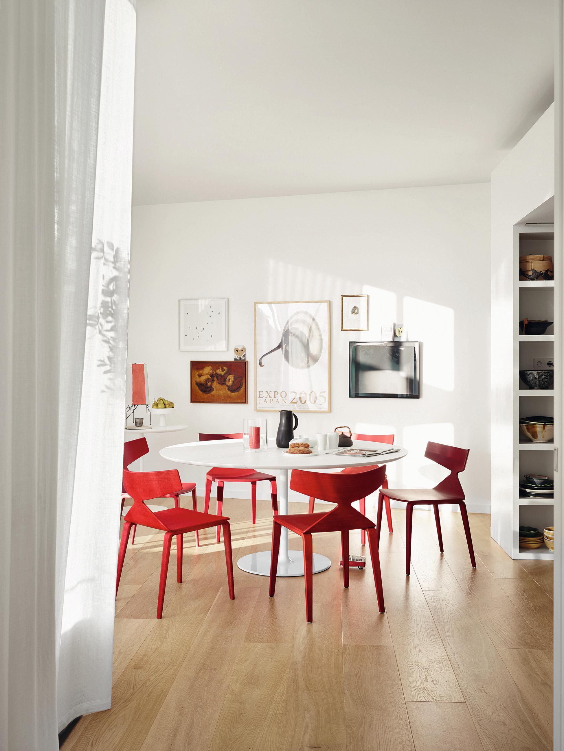 Rote Designer Stühle Im Modernen Essbereich #stuhl #esstisch  #runderesstisch #esszimmerstuhl ©