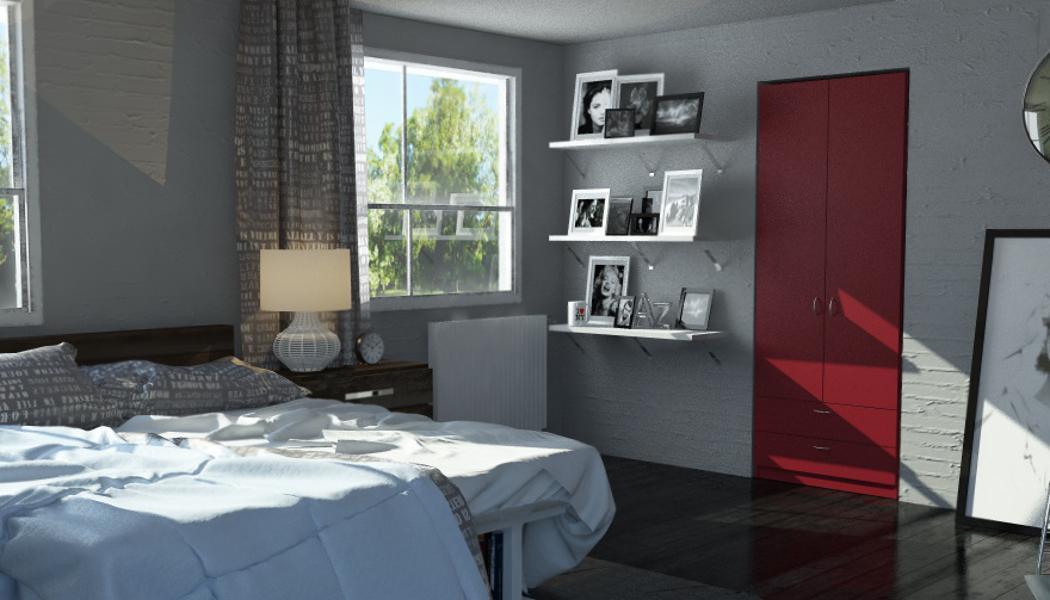 Roter Einbauschrank im Schlafzimmer #schrank #kleide...