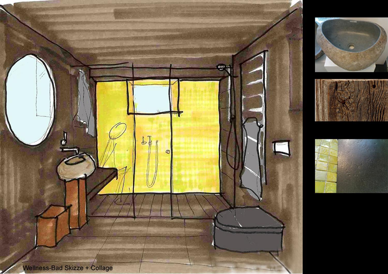 Saunabad Skizze und Materialcollage raumdesign inn...