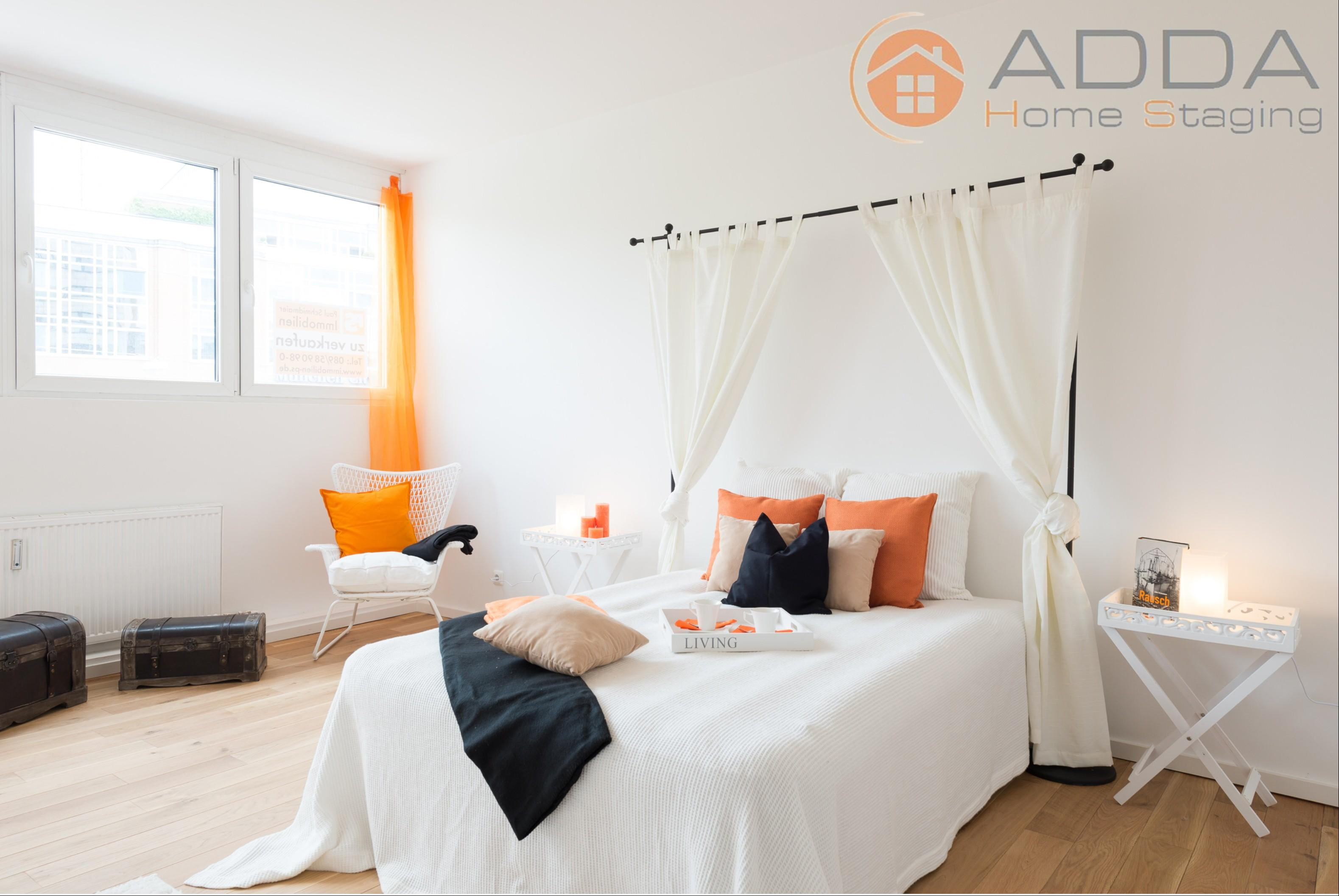 Schlafzimmer nach dem Home Staging #baldachin #tablett ©ADDA Home Staging