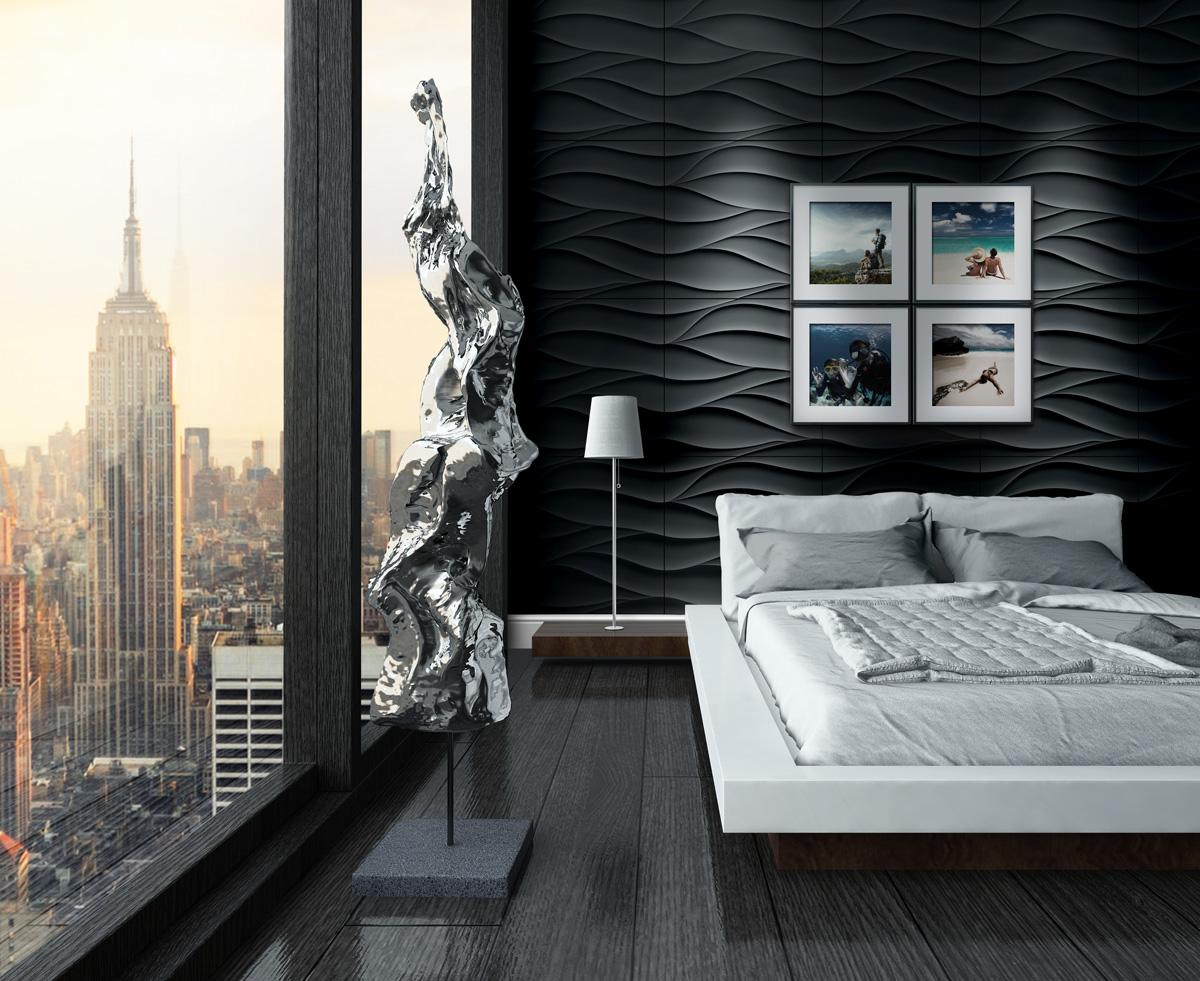 Schlafzimmer Wand mit 3D Wandpaneele aus Gips gestal...