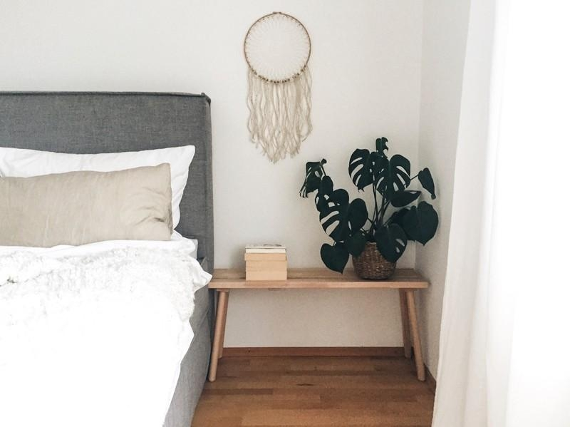 Schlafzimmerliebe. #home #interior #bedroom #ikea #dreamcatcher #diy #urban #bed #monstera #plant