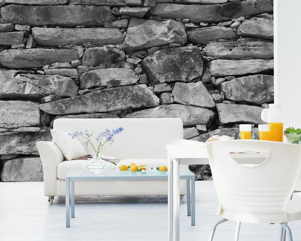 Schwarze Steinwand Fototapete Wandbild #küche #wohnzimmer #wandgestaltung  #loft #steinwand #designwand