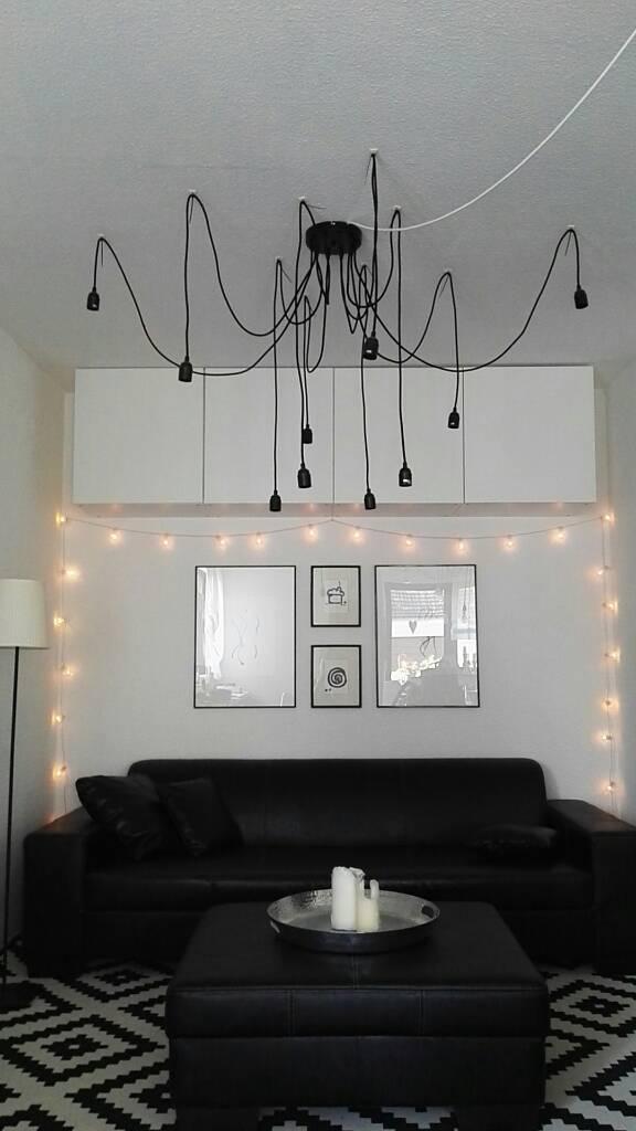 schwarzweiß #pendelleuchte #diy #wohnzimmer #couch ...