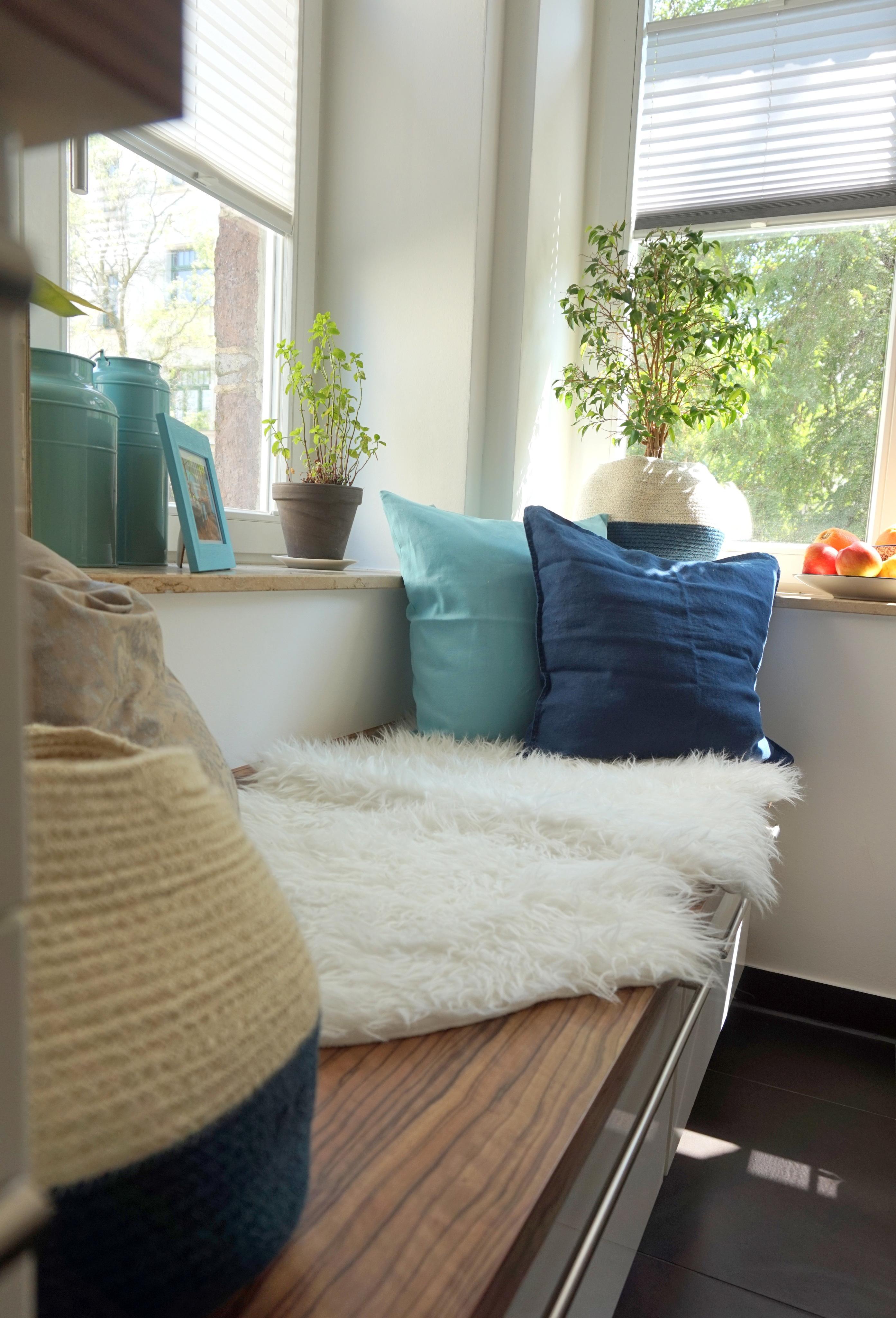 Sitzecke Kuche Blau Turkis Fell Cozy Couch