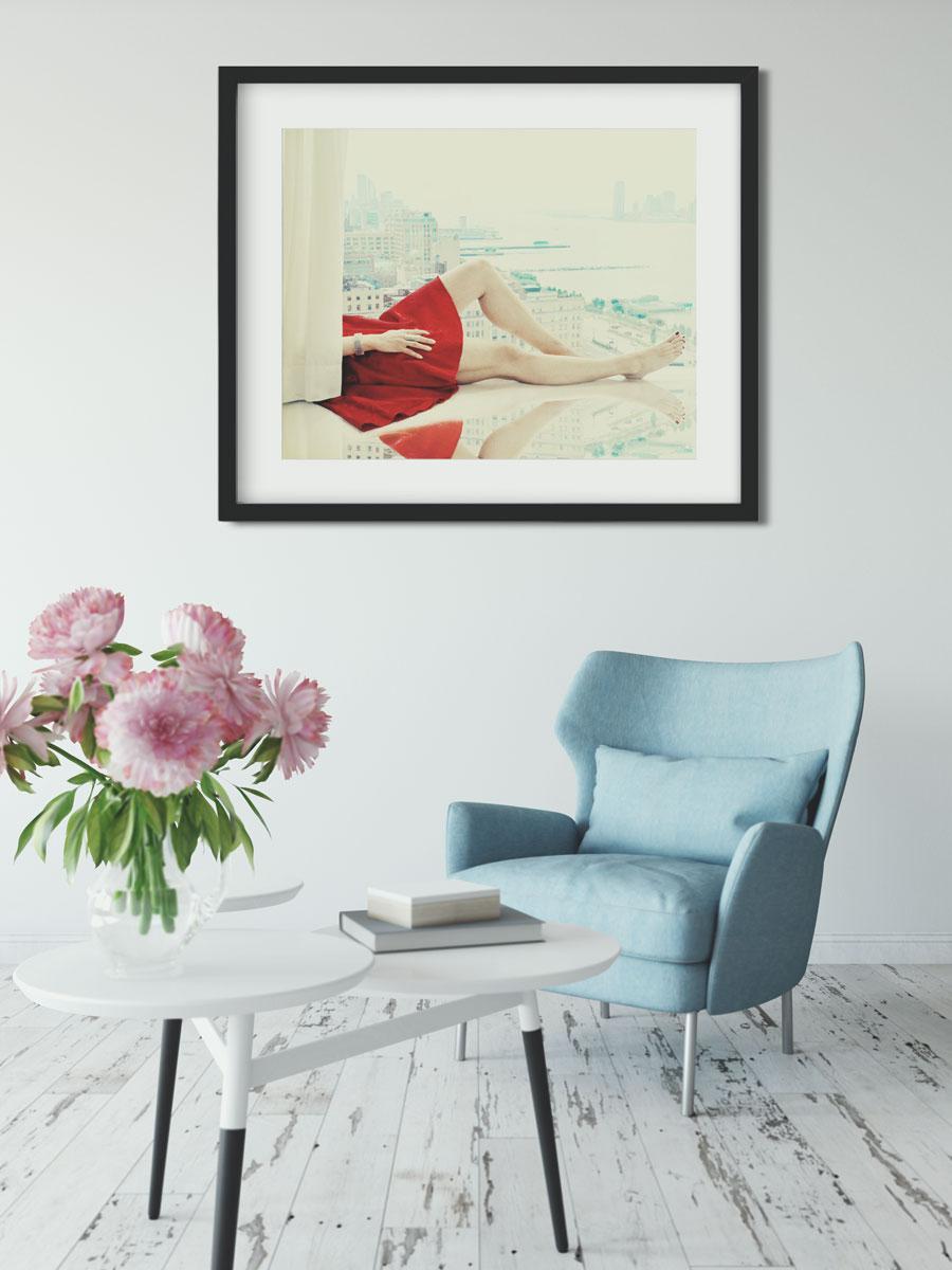 sitzecke mit gerahmtem foto bilderwand photocircle. Black Bedroom Furniture Sets. Home Design Ideas