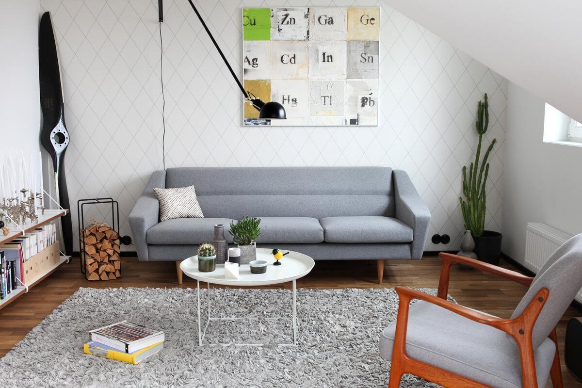 Skandinavisch grau sofa teppich vintage retro wohnzimmer 60er