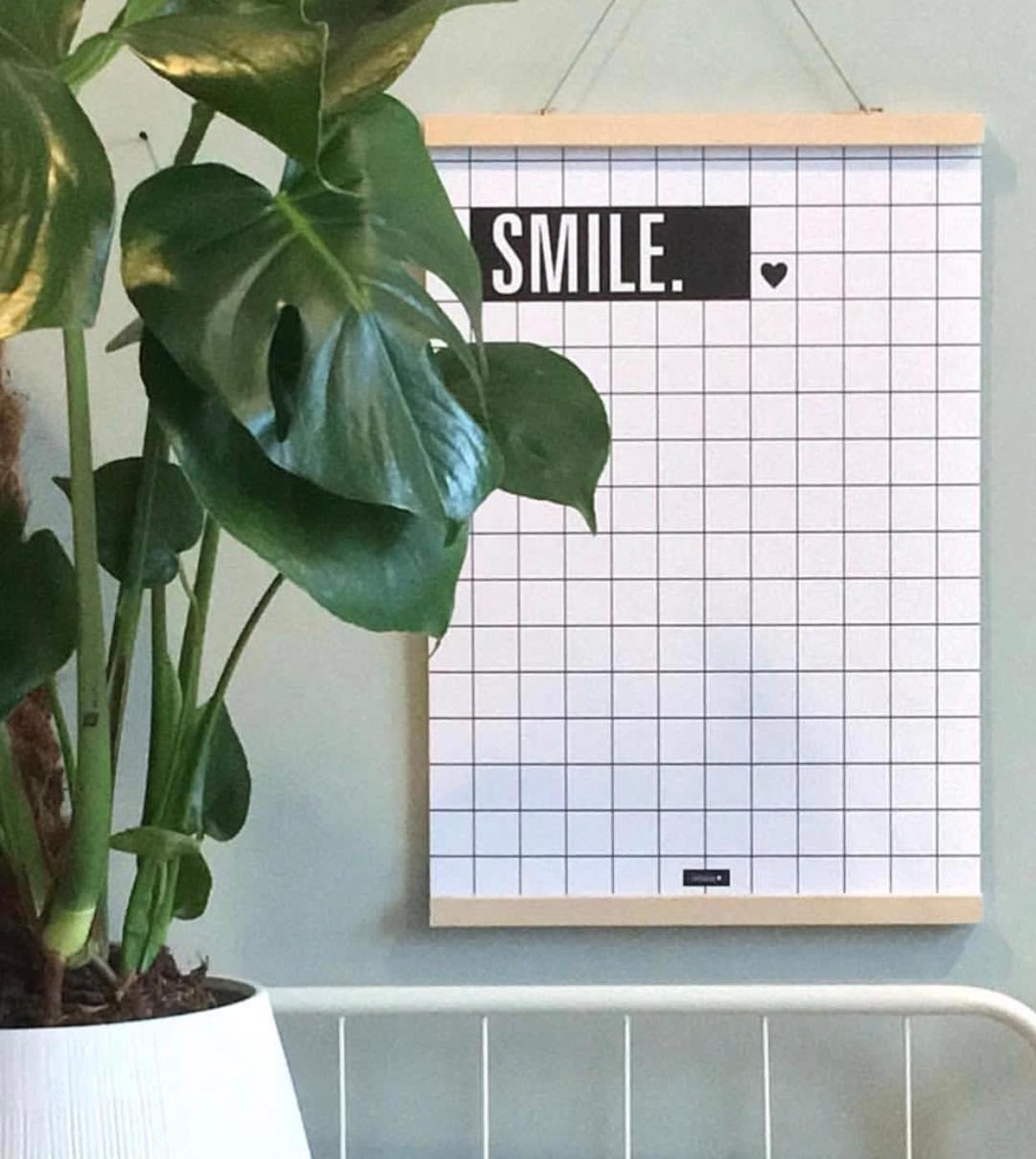 SMILE 🖤 #poster #gridpattern #homestyling #blackandwhite #lovestlyeliving