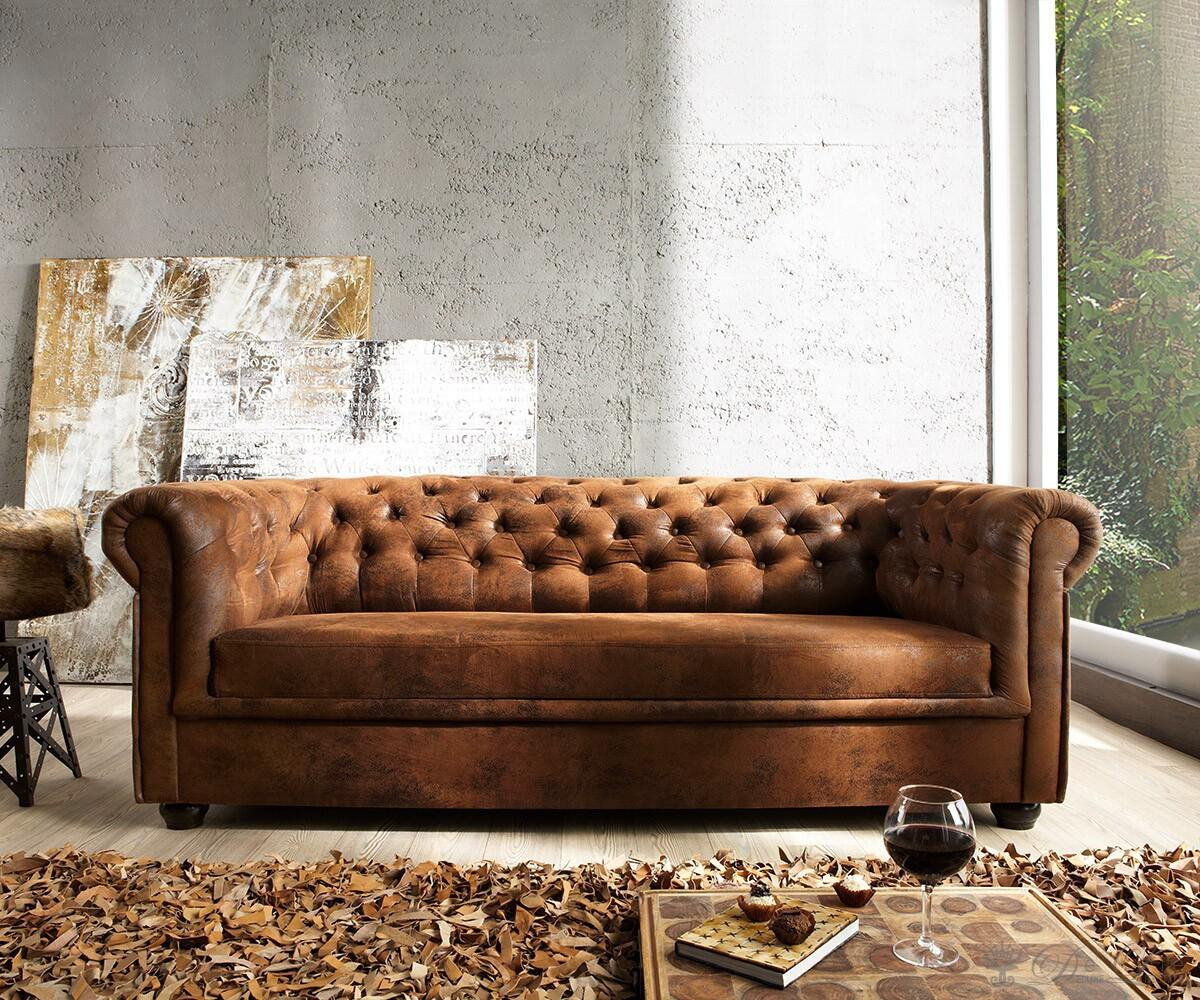 Sofa Chesterfield 200x90 Braun Antik Optik 3 Sitzer