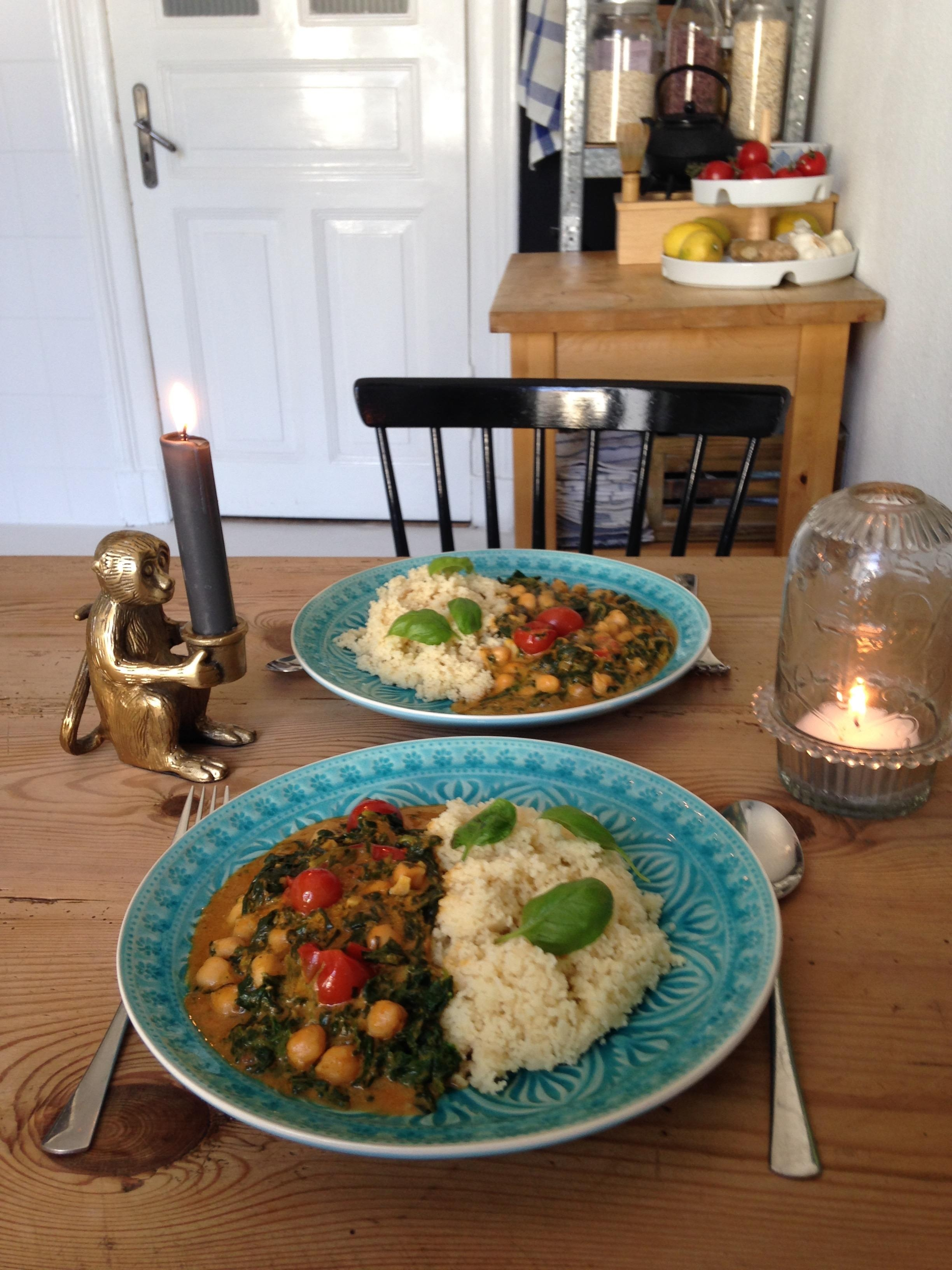 Spicy chickpeas  tomato  spinach  tajine with couscous   delicious  tajine plantbased vegan kueche meal  3e546786 4593 48b4 9d66 7ed77b1f46d1