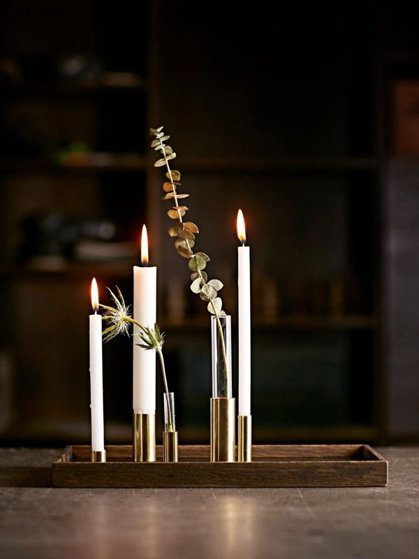 Stilvoller alternativer #Adventskranz CANDLE TRAY DE LUXE aus #Holz und #Messing von © The Oak Men #Kerzenhalter