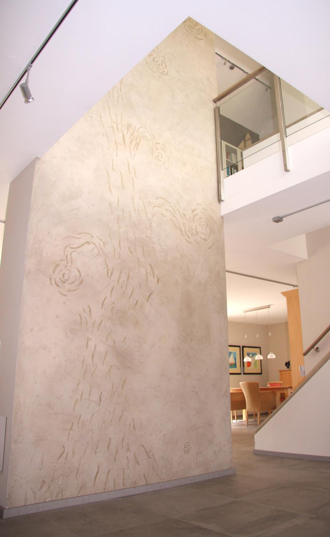 Tadelakt Wand Als Verbindung Von Zwei Ebenen #treppenhaus #wandputz  ©Kerstin Marx