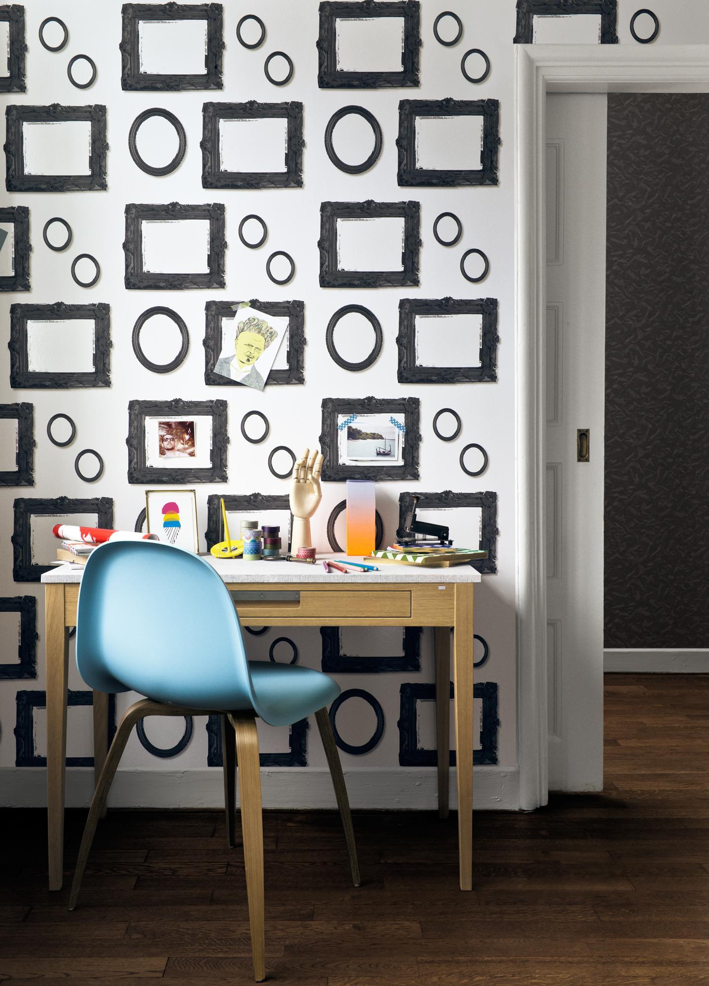Tapete Mit Aufgedruckten Bilderrahmen Stuhl Arbeit