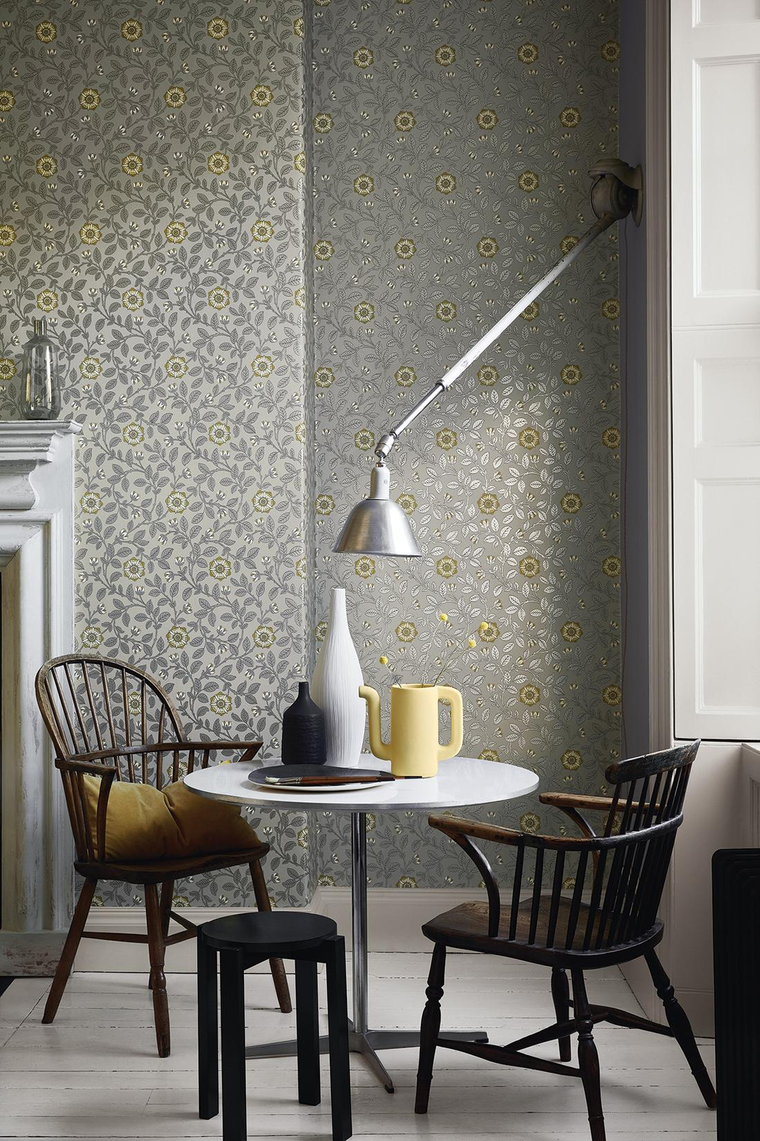"Tapete ""Richmond Green - Platinum"" #motivtapete #mustertapete #blumentapete ©Little Greene"
