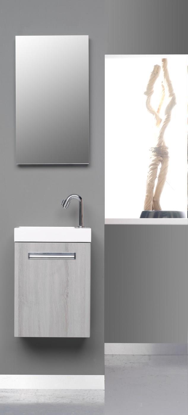 #badmöbel #badezimmerunterschrank ©Thebalux Badezimmermöbel. Thebalux  Badezimmermöbel. WC Möbel Global. Kompakt. Badmöbel Im Holzton Esche Grau.