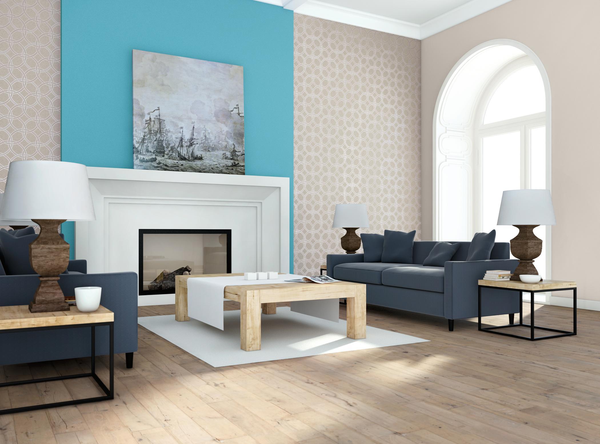 Türkisfarbene Wandgestaltung Hinter Dem Kamin #couchtisch #beistelltisch  #kamin #wandgestaltung #sofa #