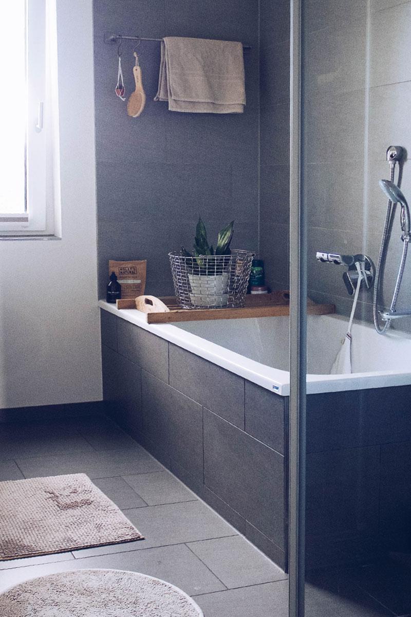 Unser Neues Badezimmer Mit Modernen Dunkelgrauen Fli