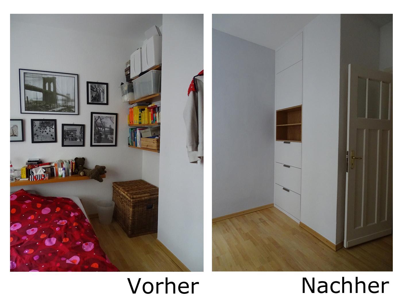 Vorher Nachher Schlafzimmer Mit Stauraumlösung #grauewand #stauraum  ©Mareike Kühn Interior Stylist U0026amp