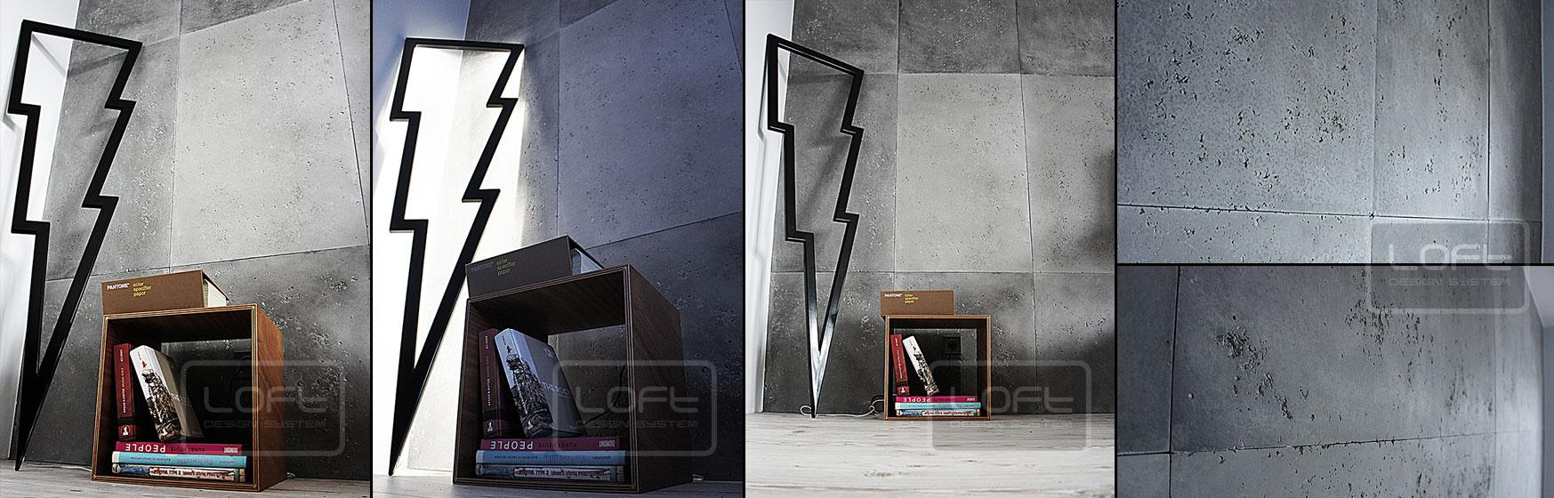 Wandpaneele in Beton-Optik #wandverkleidung #wandgestaltung #wandpaneel ©Loft Design System