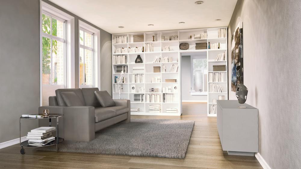 Wandregal nach Maß mit modernem Sofa #bücherregal #w...