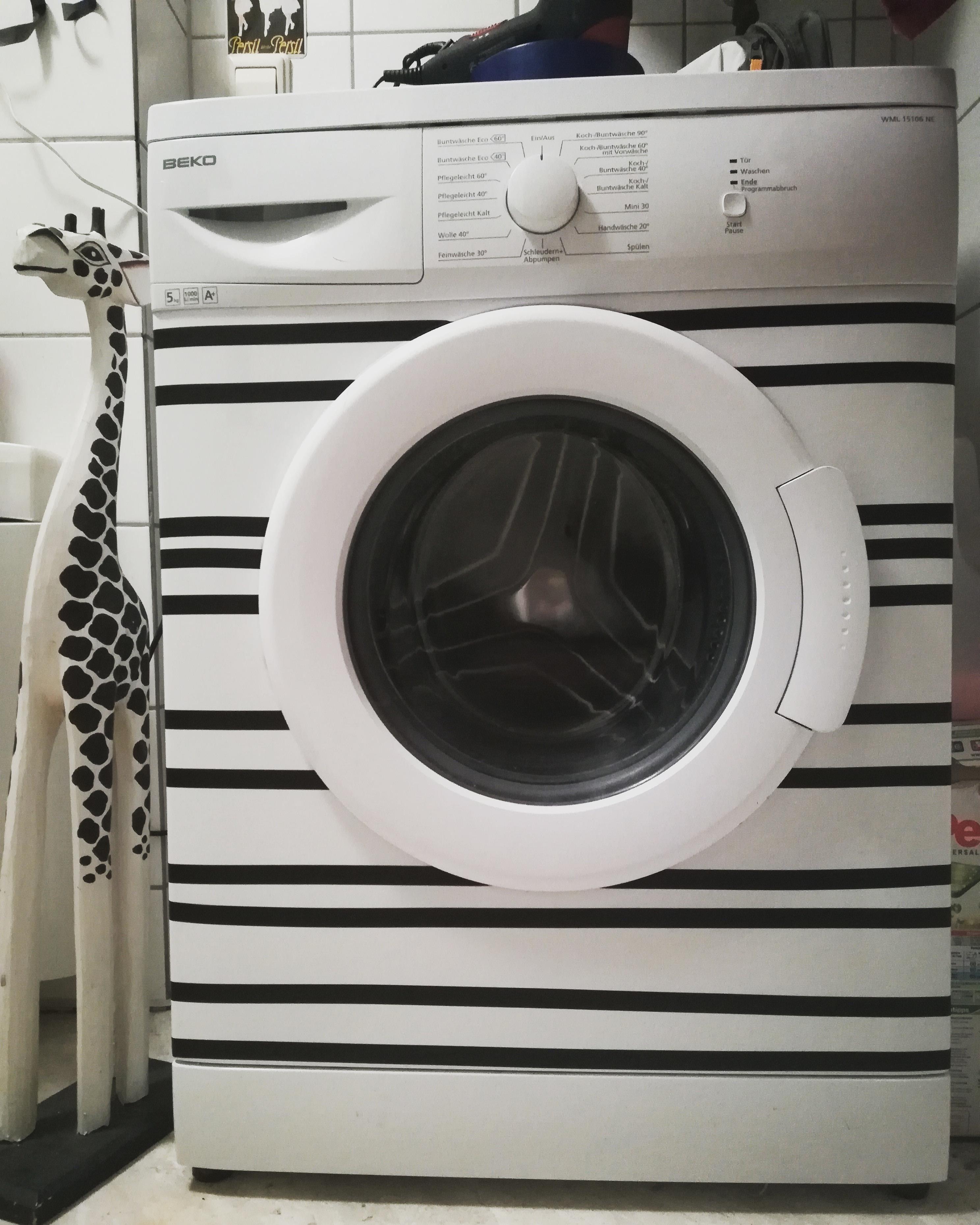 #Waschmaschine #aufgepimpt #streifen #zebra #giraffe #schwarzweiß #diy  #creative