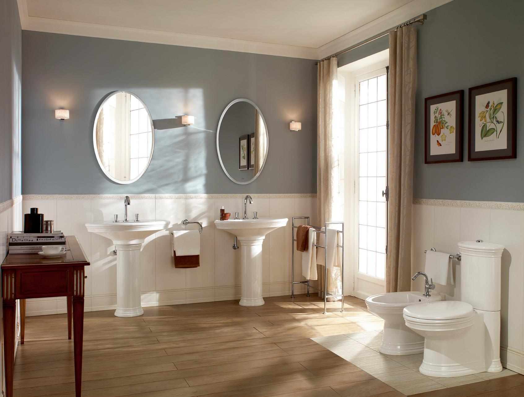 Waschtische Amadea Im Blau Weissen Badezimmer Wasc