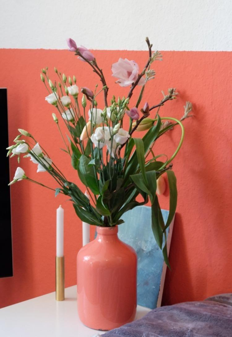 Welcome Spring Flower Blumen Wandfarbe Koral